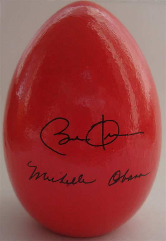 Barack Obama signed wooden egg